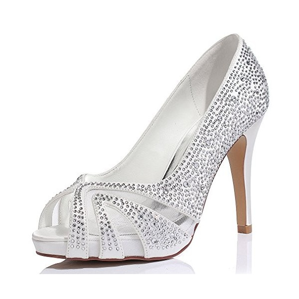 Silver Wedding Shoes Lace Hees Peep Toe