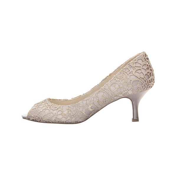 Nude Bridal Shoes Lace Heels Peep Toe Kitten Heel Pumps for Wedding image 3