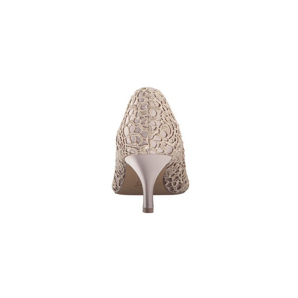 Nude Bridal Shoes Lace Heels Peep Toe Kitten Heel Pumps for Wedding image 2