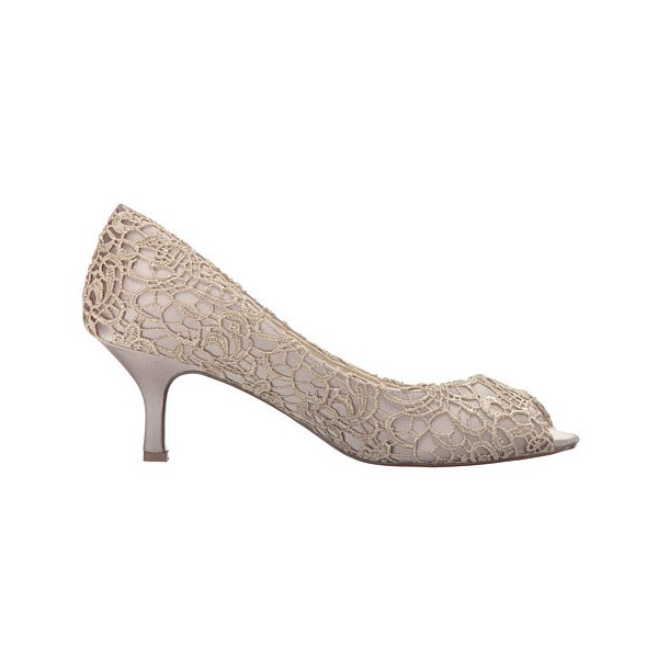 Nude Bridal Shoes Lace Heels Peep Toe Kitten Heel Pumps for Wedding image 4