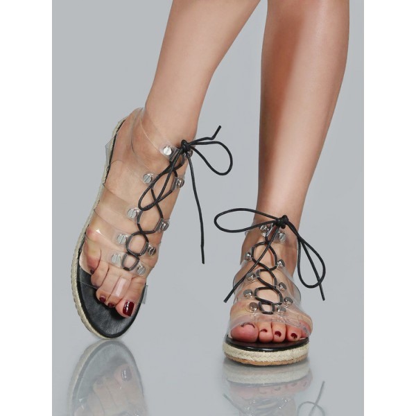 Women's Clear Lace up Sandals Comfortable Strappy Flats image 3