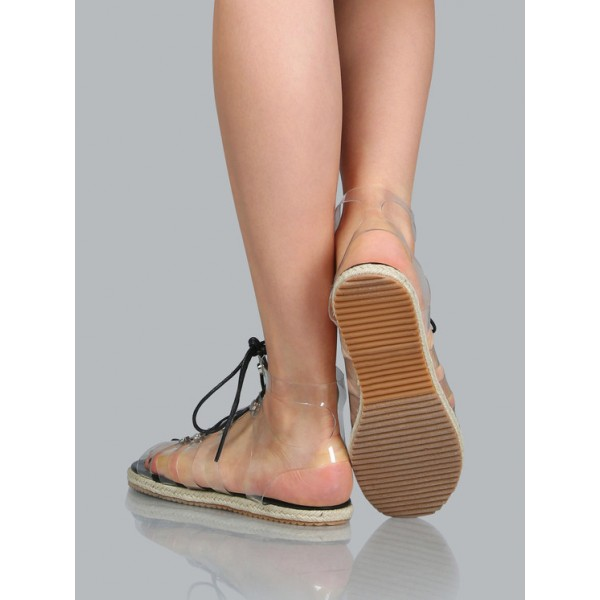 Women's Clear Lace up Sandals Comfortable Strappy Flats image 2
