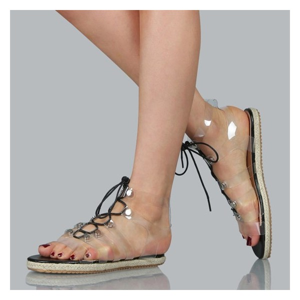 Women's Clear Lace up Sandals Comfortable Strappy Flats image 1