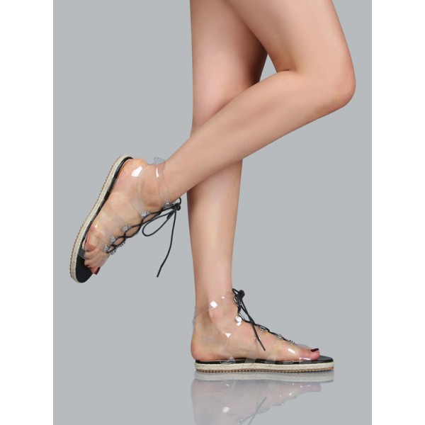 Women's Clear Lace up Sandals Comfortable Strappy Flats image 4
