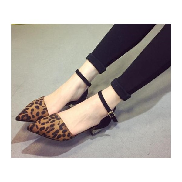 Leopard Print Shoes Ankle Strap Chunky