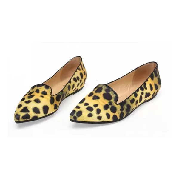 Women's Lemon Yellow Pointed Toe Leopard Print Flats image 1