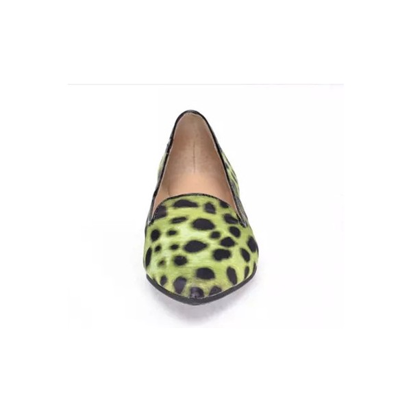 Women's Light Green Pointed Toe Leopard Print Flats image 2