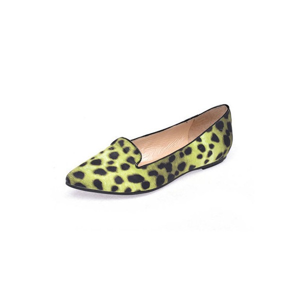 Women's Light Green Pointed Toe Leopard Print Flats image 1