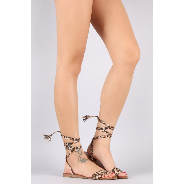 Leopard Print Flats Strappy Open Toe Suede Comfortable Shoes image 2