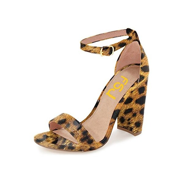 Leopard Print Heels Patent Leather Ankle Strap Chunky Heel Sandals US Size 3-15 image 1