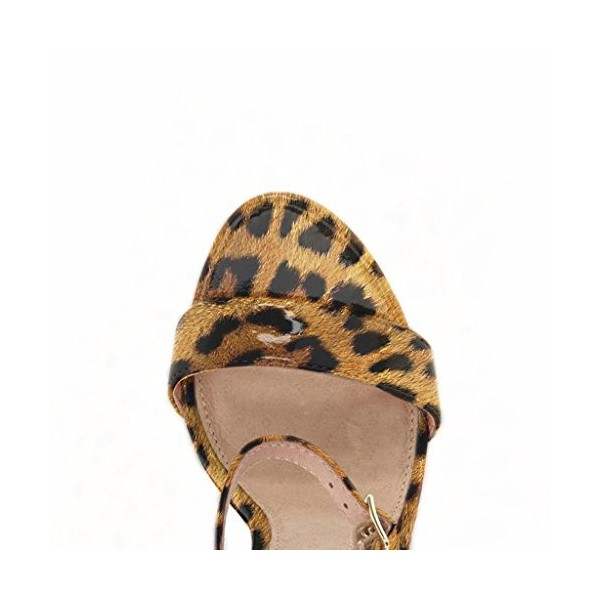 Leopard Print Heels Patent Leather Ankle Strap Chunky Heel Sandals US Size 3-15 image 3