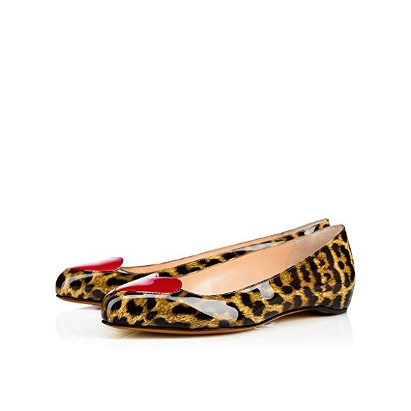Women's Light Brown Patent Leather Heart Decorated Leopard Print Flats image 1