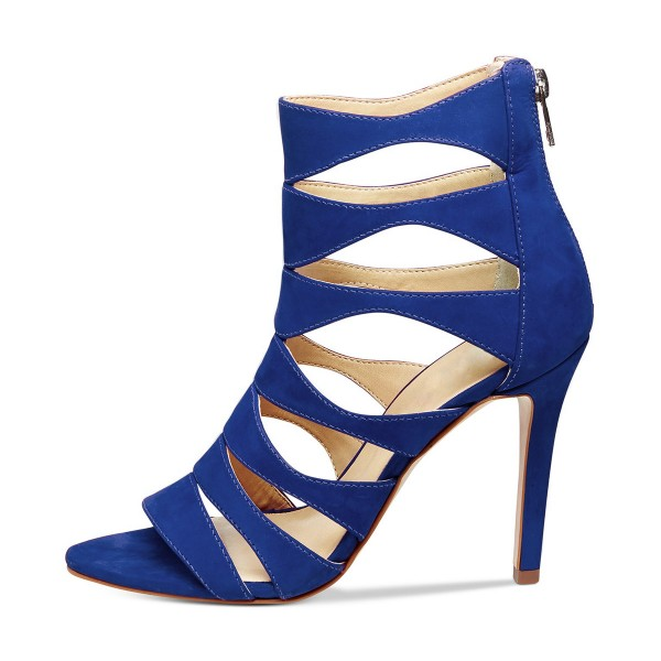 Women's Blue Suede Open Toe Hollow-out Stiletto Heels Sandals image 2