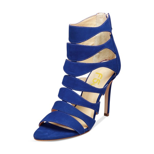 Women's Blue Suede Open Toe Hollow-out Stiletto Heels Sandals image 1