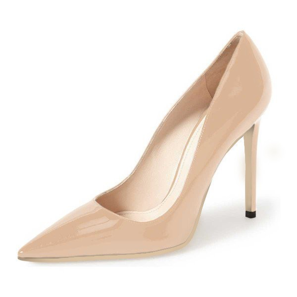 On Sale Nude Stiletto Heels Patent Leather Pointy Toe Dressy Pumps image 1