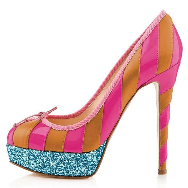 Yellow And Pink Bow Glitter Platform Heels Pumps image 3