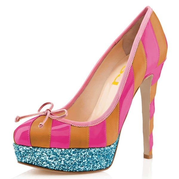 Yellow And Pink Bow Glitter Platform Heels Pumps image 1