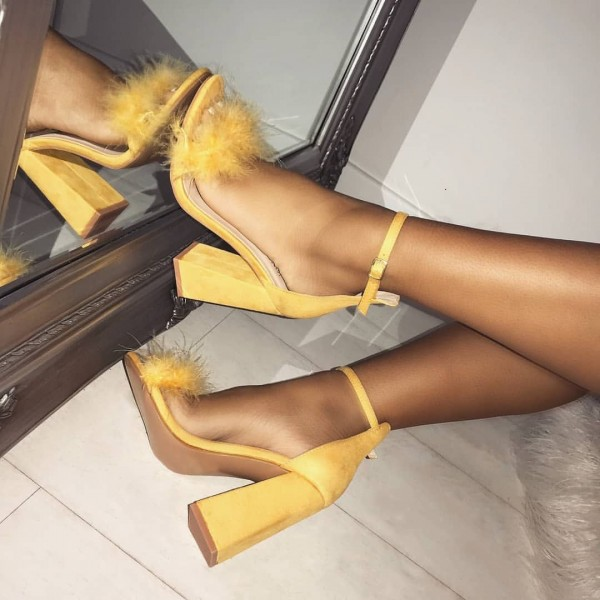 Yellow Fur Heels Ankle Strap Sandals Suede Block Heel Sandals image 1