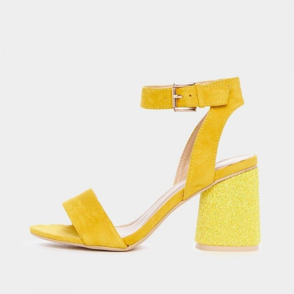 Yellow Glitter Slingback Sandals Block Heels Ankle Strap Sandals image 1