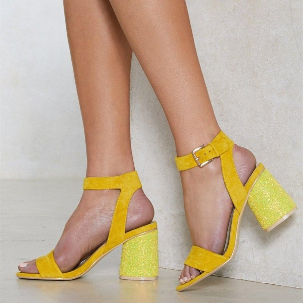 Yellow Glitter Slingback Sandals Block Heels Ankle Strap Sandals image 3