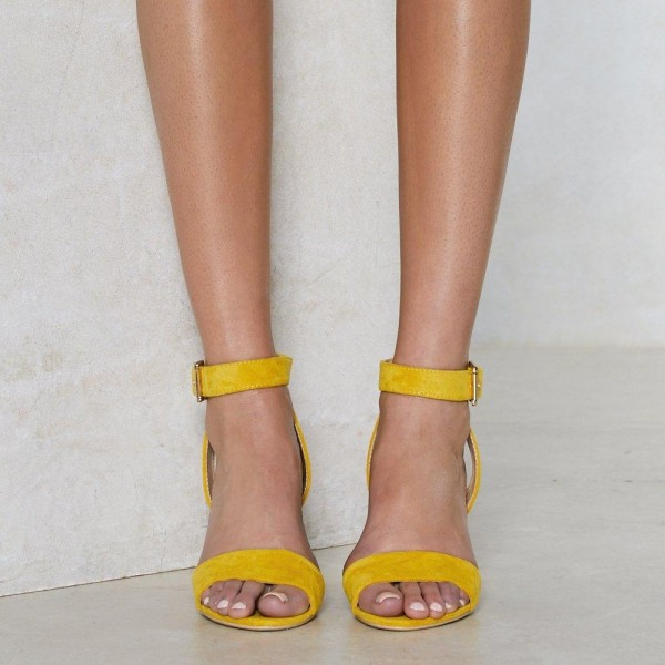 Yellow Glitter Slingback Sandals Block Heels Ankle Strap Sandals image 2