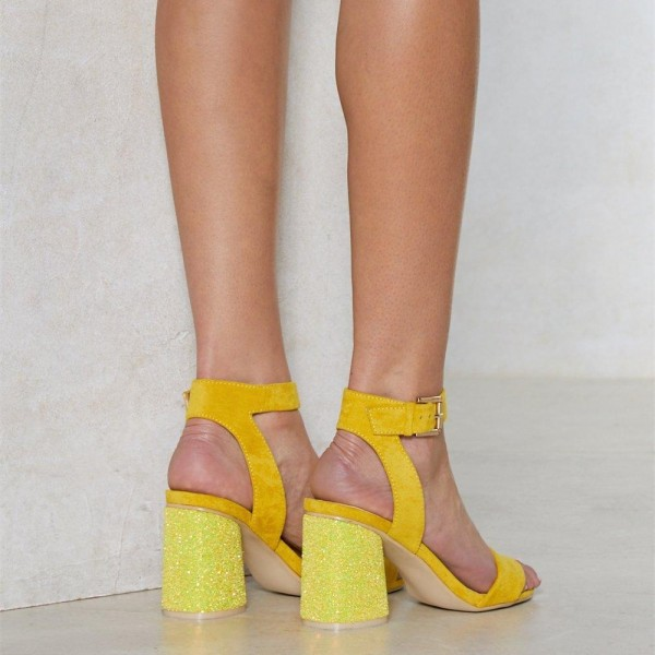 Yellow Glitter Slingback Sandals Block Heels Ankle Strap Sandals image 4