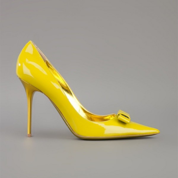 Yellow Bow Heels Pointy Toe Patent Leather Stiletto Heel Pumps image 2