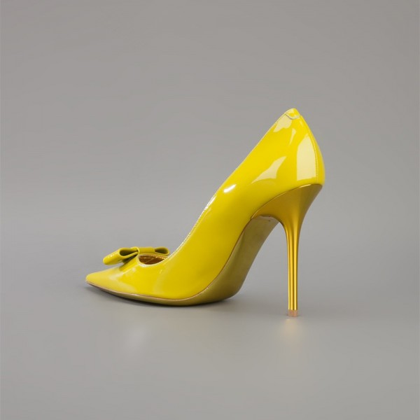 Yellow Bow Heels Pointy Toe Patent Leather Stiletto Heel Pumps image 3