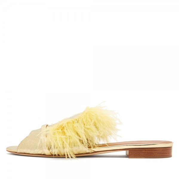 Yellow Python Feather Women's Slide Sandals image 1