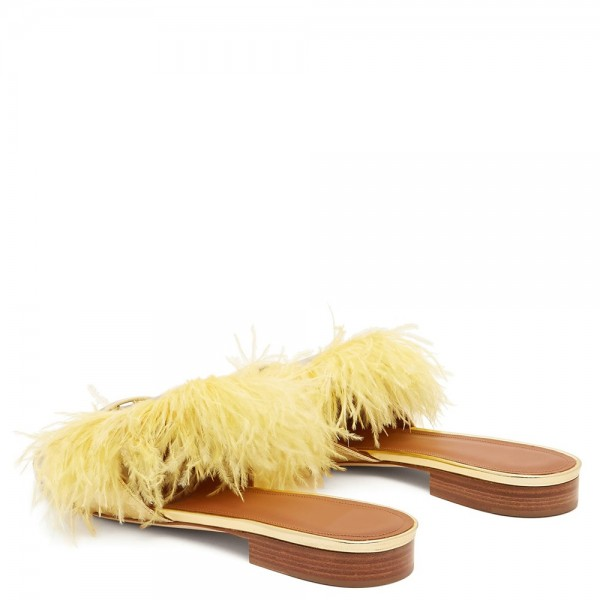 Yellow Python Feather Women's Slide Sandals image 3