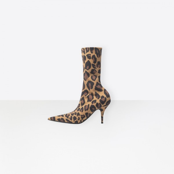Women's Leopard Stretch Boots Pointy Toe Sock Booties image 1