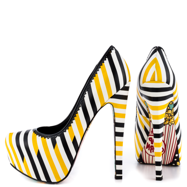 Yellow And Black Floral Print Platform Heels Almond Toe Stiletto Heels image 1