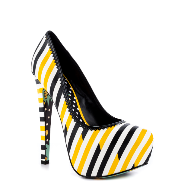 Yellow And Black Floral Print Platform Heels Almond Toe Stiletto Heels image 3