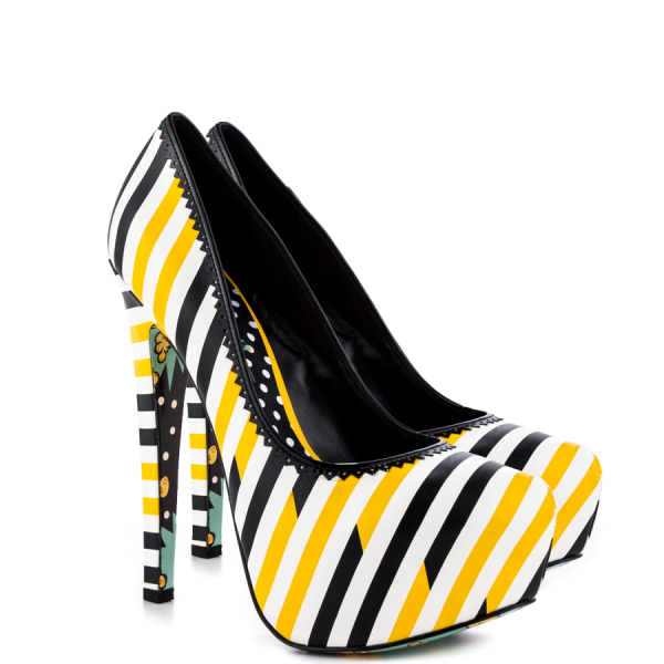 Yellow And Black Floral Print Platform Heels Almond Toe Stiletto Heels image 5