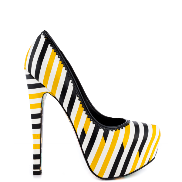 Yellow And Black Floral Print Platform Heels Almond Toe Stiletto Heels image 4