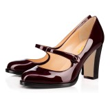 Maroon Mary Jane Pumps Vintage Chunky Heels