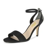 Black Satin Ankle Strap Sandals Open Toe Stiletto Heels