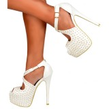 White Stiletto Heels Studs Cross Over Platform Ankle Strap Sandals