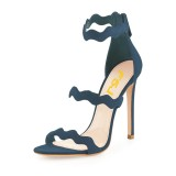 Navy Waves Pattern Stiletto Heels Open Toe Ankle Strap Sandals