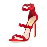 FSJ Red Stiletto Heels Open Toe Three-Strap Suede Sandals