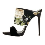 Floral Stiletto Heels Suede Formal Mule Sandals by FSJ