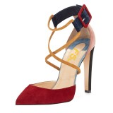 Red and Pink Suede Crossed-over Strap Chunky Heel Pumps