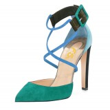 Green Block Heel Sandals Pointy Toe Suede Cross-over Strap Shoes