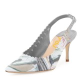 Women's Grey Floral Heels Slingback Pumps Pointy Toe Kitten Heels