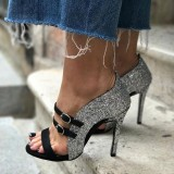 Black and Silver Glitter Shoes Buckles Stiletto Heels Sandals