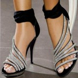Black Evening Shoes Rhinestone Ankle Strap High Heels Prom Shoes