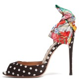 Black Satin Polka Dots Floral Bow Peep Toe Heels Pumps
