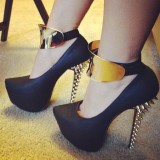 Black Stripper Heels Gold Ankle Platform Pumps with Rivets