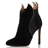 Black Suede Stiletto Heel Fashion Ankle Booties