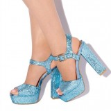 Blue Glitter Shoes Platform Slingback Chunky Heel Sandals